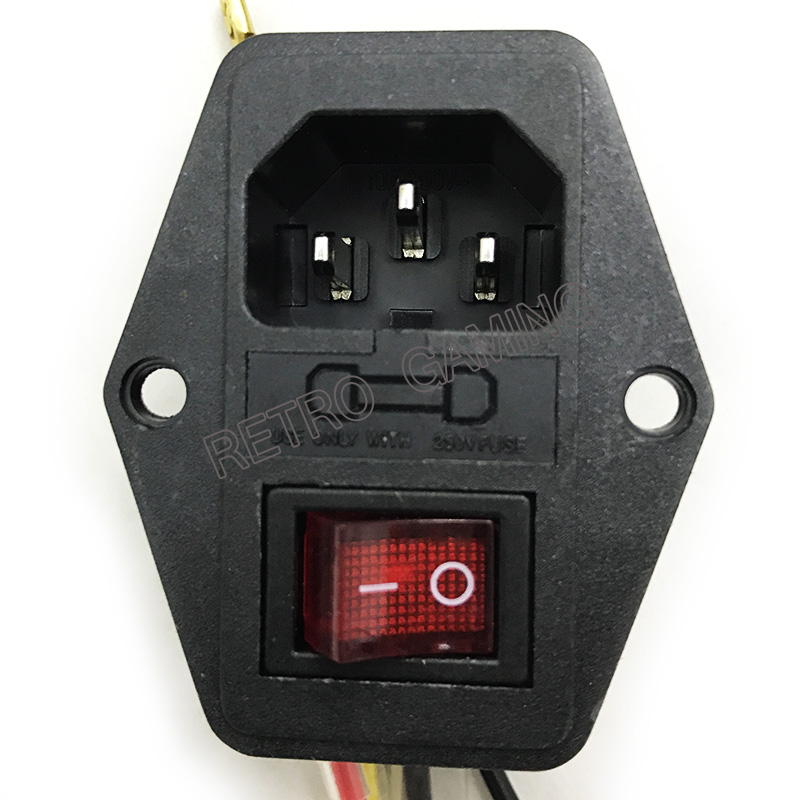 ON/OFF switch Socket with female plug for power supply cord Jamma arcade machine IO switch with Fuse(China)