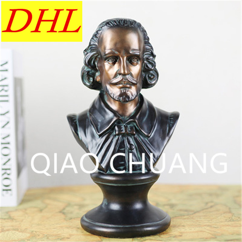 Imitation Bronze Dramatist William Shakespeare BUST Statue Creative Colophony Crafts Living Room Decoration G1001 pianist composer ludwig van beethoven bust figure sculpture imitation white marble colophony crafts living room decoration g1008