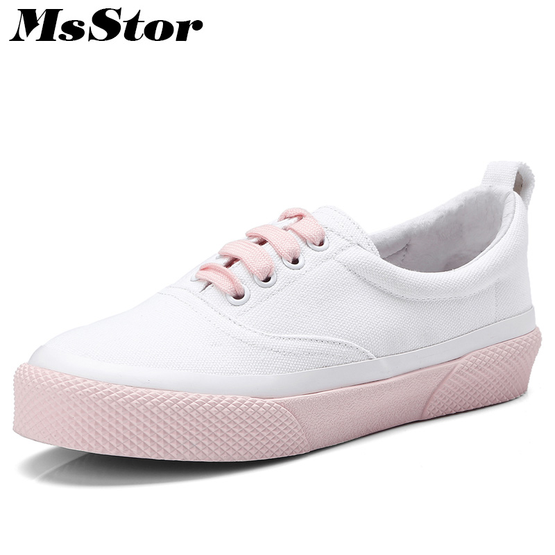 MsStor Round Toe Mixed Colors Women Flats Casual Fashion Ladies Flat Canvas Shoes 2018 Spring Cross tied Women Brand Flat Shoes cresfimix women cute spring summer slip on flat shoes with pearl female casual street flats lady fashion pointed toe shoes
