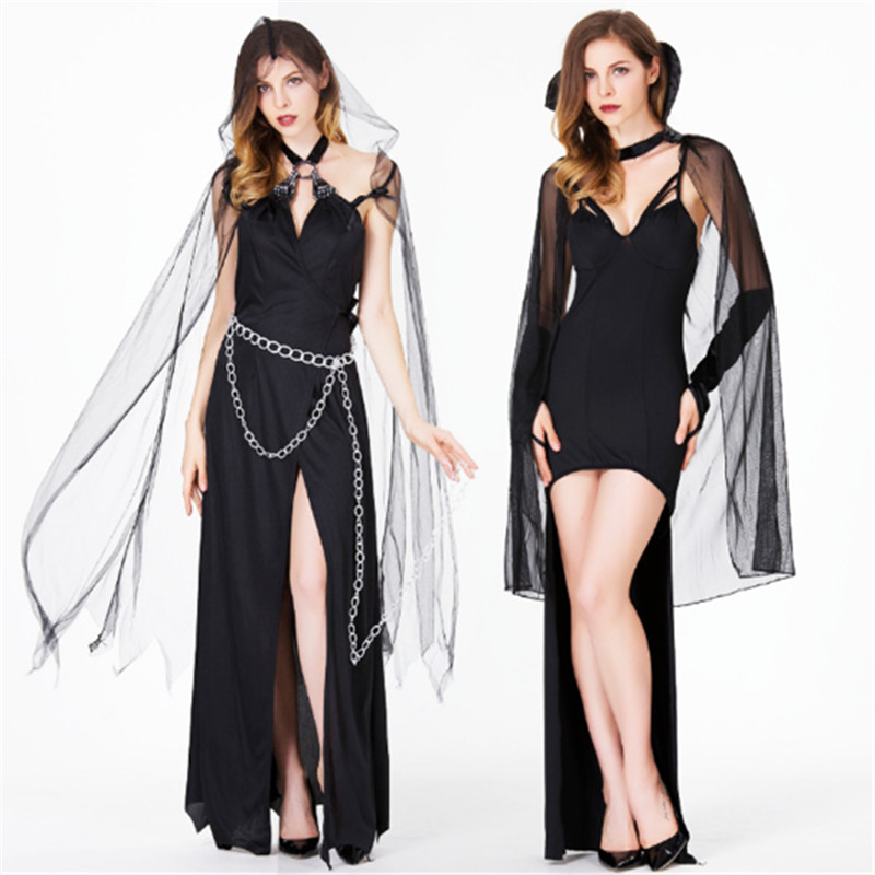 Plus size <font><b>sexy</b></font> vampire Costume <font><b>Halloween</b></font> for <font><b>women</b></font> Witch black queen Horror Ghost devil Cosplay clothing Club wear party <font><b>dress</b></font> image