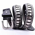 100% Cuero Genuino Nuevo de La Vendimia Punky Para Hombre Cinturón Retro Remache cinturones Para Hombre de Hip hop Jeans Vaquero Cinturón de Fábrica de la Marca Outlet