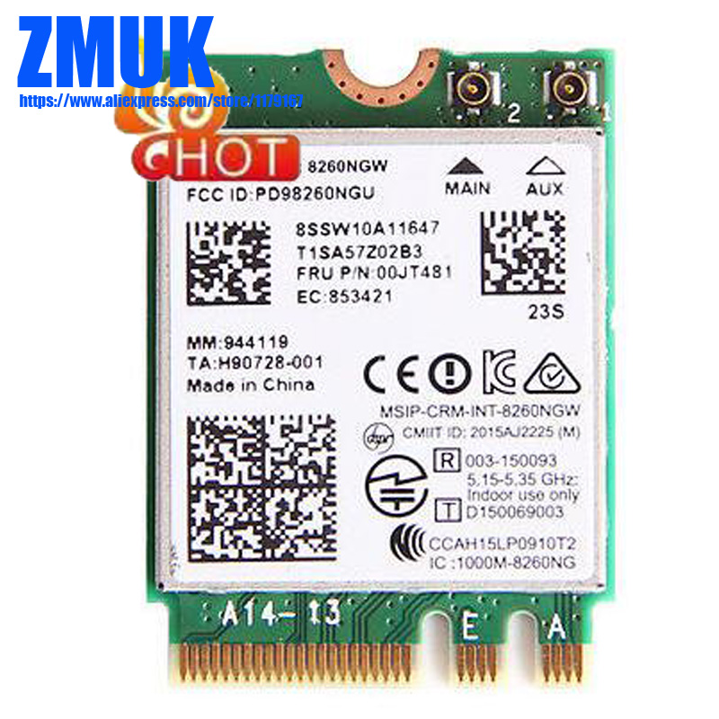 Int 8260NGW 2x2AC+BT PCIE M.2 WLAN Card For Lenovo E460 E560 L470 L570 P51S T470 T470S Y700 Yoga 900 Series,FRU 00JT481