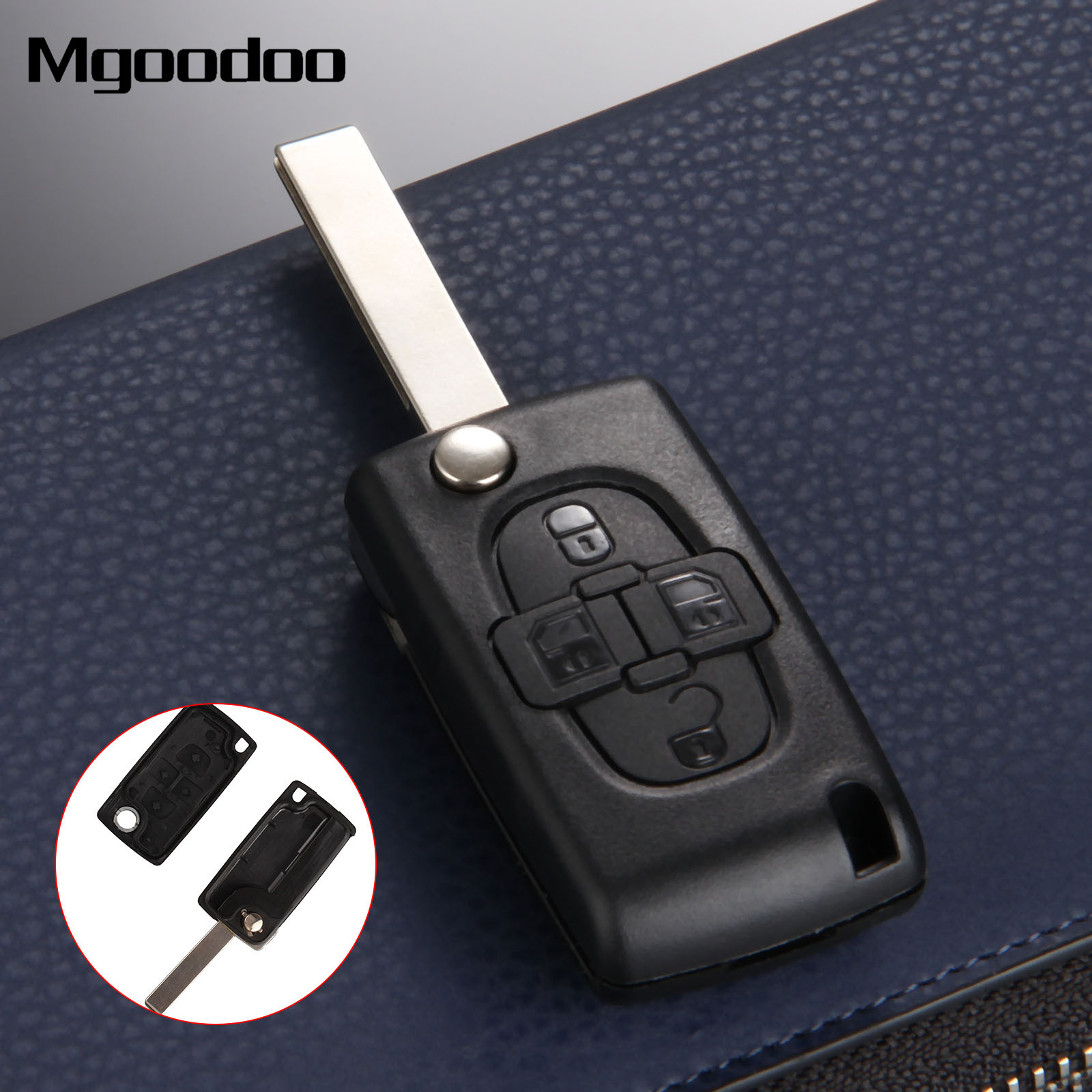 Mgoodoo Replacement Key Shell 4 Buttons Flip Folding Remote Case Fob Cover Blank Blade For Peugeot 1007 Citroen C8