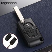 купить Mgoodoo Replacement Key Shell 4 Buttons Flip Folding Remote Key Case Fob Cover Blank Blade For Peugeot 1007 Citroen C8 дешево