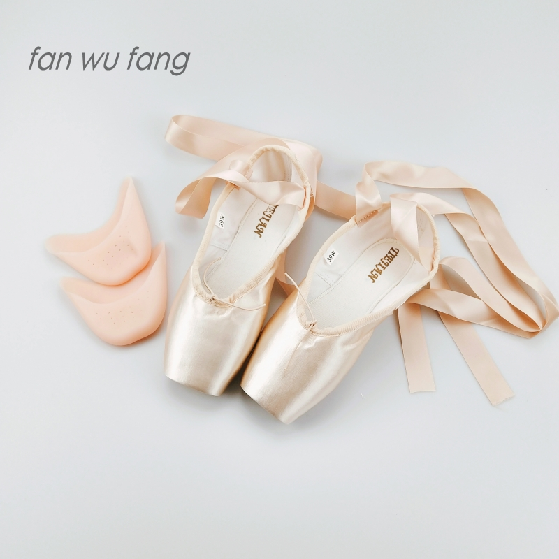 fan wu fang 2019 New Pink Canvas Satin Adult Ballet Pointe Dance Toe Shoes Ladies Professional Ribbons Woman Gel Pad R