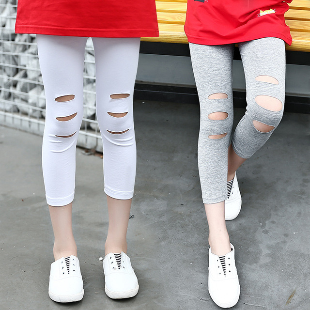2ddee1155f6 Kids Girls Capri Leggings Summer 2019 New Knee Holes Teenage Girls Leggings  Summer Cotton Capri Pants