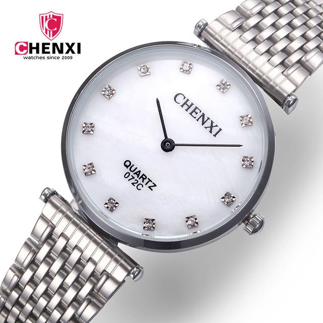 Relógio de Prata Das Mulheres Dos Homens de luxo de Aço Inoxidável Rhinestone Simples Minimalismo Quartz Relógio de Pulso do Amante Menino amigo Amigo Presente Da Menina