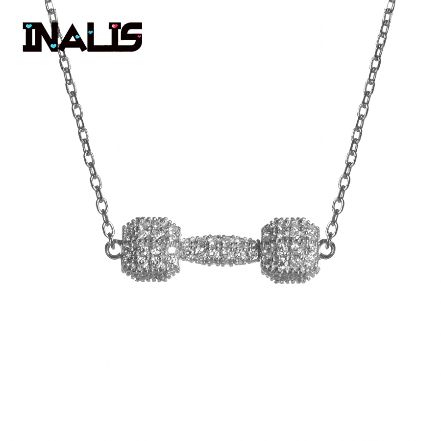 INALIS Elegant Chain Necklace 925 Sterling Silver Shining Clear Crystal Dumbbell Pendant Rawness Sport Fine Jewelry for Women elegant shining crystal alloy bracelet