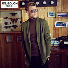 Enjeolon brand Autumn Winter Sweater Men slim fit Turn-Down Collar Cotton Knitted Cardigan solid mazarine Sweater Knitwear coat