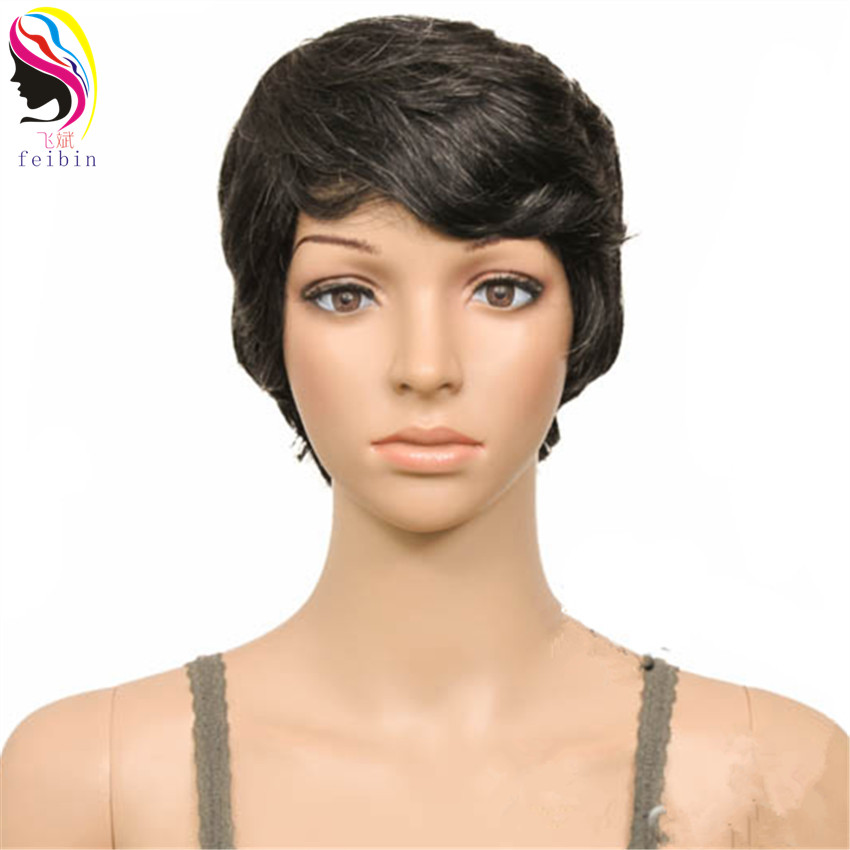Feibin 27 ШТ. Короткий Парик для Чернокожих Женщин Синтетические Полноголовые Парики Волос Природы 4-6 дюймов