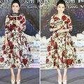 Bingbing Fan caliente Vestidos de La Celebridad 2017 Impresión de la Rosa del Satén Largo de Las Mangas de Longitud de Té Vestido de Noche