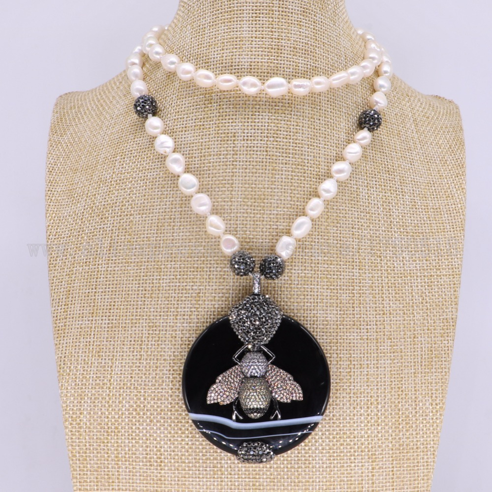 3 pieces necklace pearl necklace black stone beads with bees round pendant gems for women 3174 цена