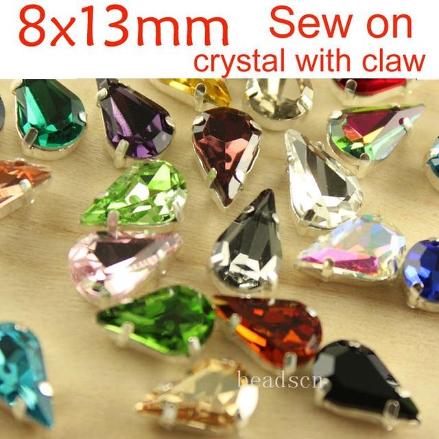 12pcs 8x13mm sew on teardrop silver setting Glass Crystal Jewellery Foiled Rhinestone stones DIY shoes/dress hair accessories