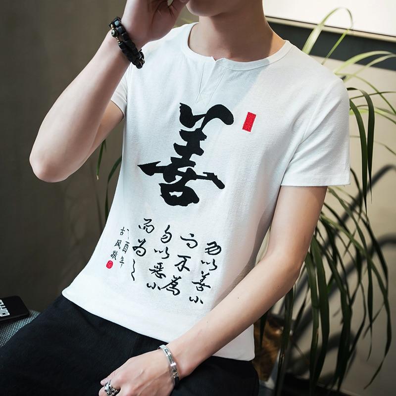 Summer New Chinese Character Mens Short-Sleeve T-Shirt Cotton and Linen Fabric T Shirt Men S-5XL