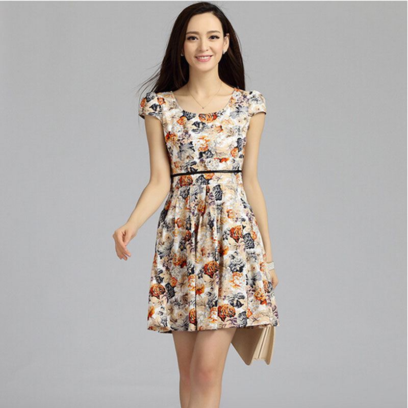 Aliexpress.com : Buy 2015 New Summer Cotton Floral Dress Korean ...