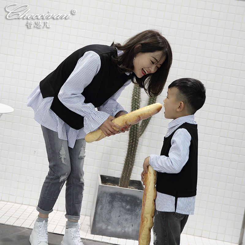 Family Look T-shirts Spring Summer Ruffle Mother and Son Patchwork Stripe T-shirt Mom&Daughter Family matching Cotton Sweatshirt 2015 family summer stripe short sleeve t shirt shorts skirt set fashion sports clothes for mom and daughter free shipping a048