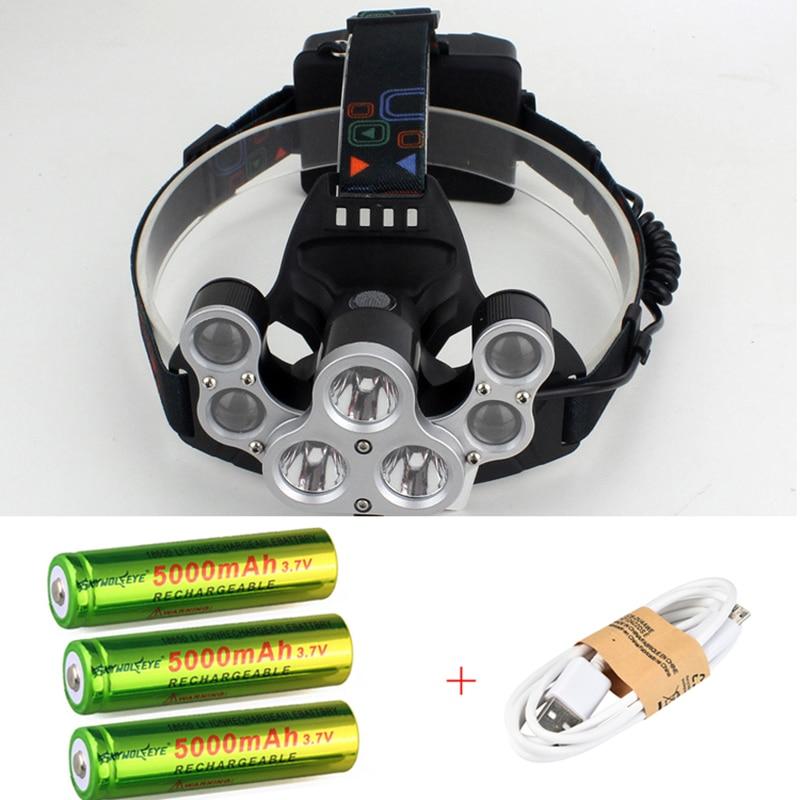Ajustable de 50000 lúmenes 7 Led faro 3 * XML T6 + 4Q5 la cabeza de la lámpara linterna USB recargable Led faro 18650 cabeza antorcha