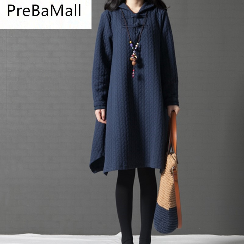Autumn Winter Maternity Dresses Loose Cotton-padded clothes Coats Clothes for Pregnant Women Ethnic Style Pregnacy Dress B0544