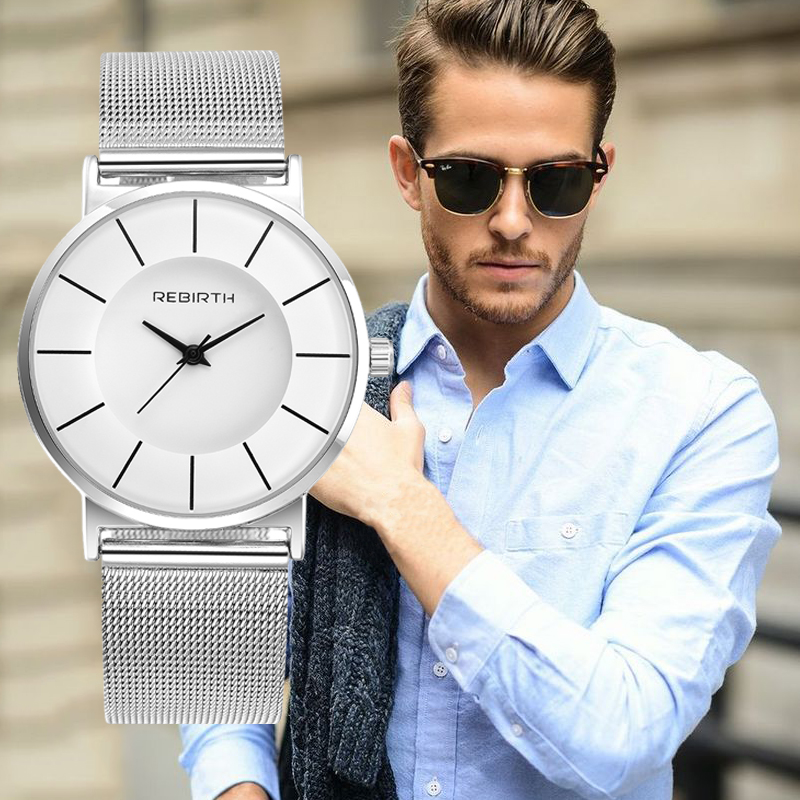 Ultra-thin Men Watches REBIRTH Top Brand Luxury Business Waterproof Watches Men's Stainless Steel Band Auto Date Relojes Saat