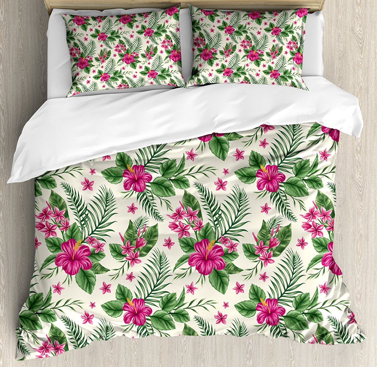 Watercolor Duvet Cover Set , Plumeria and Hibiscus Flora Tropical Island Nature Aloha Hawaii Jungle, 4 Piece Bedding Set