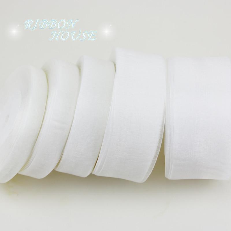 (50 ярдов/рулон) Белая лента из органзы оптовая продажа подарочной упаковки украшения ленты (12/15/20/25/40/50 мм)