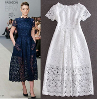Fashion Summer White Flower Lace Big Sweep Maxi Dress Short Sleeve Hollow Slim Elegant Prom Party