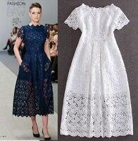 לטאטא קצר שמלת מקסי האופנה הקיץ הלבן פרחי תחרה הגדול הולו Slim אלגנטי שמלות רשמיות מסיבת נשף שרוול בתוספת גודל 3XL