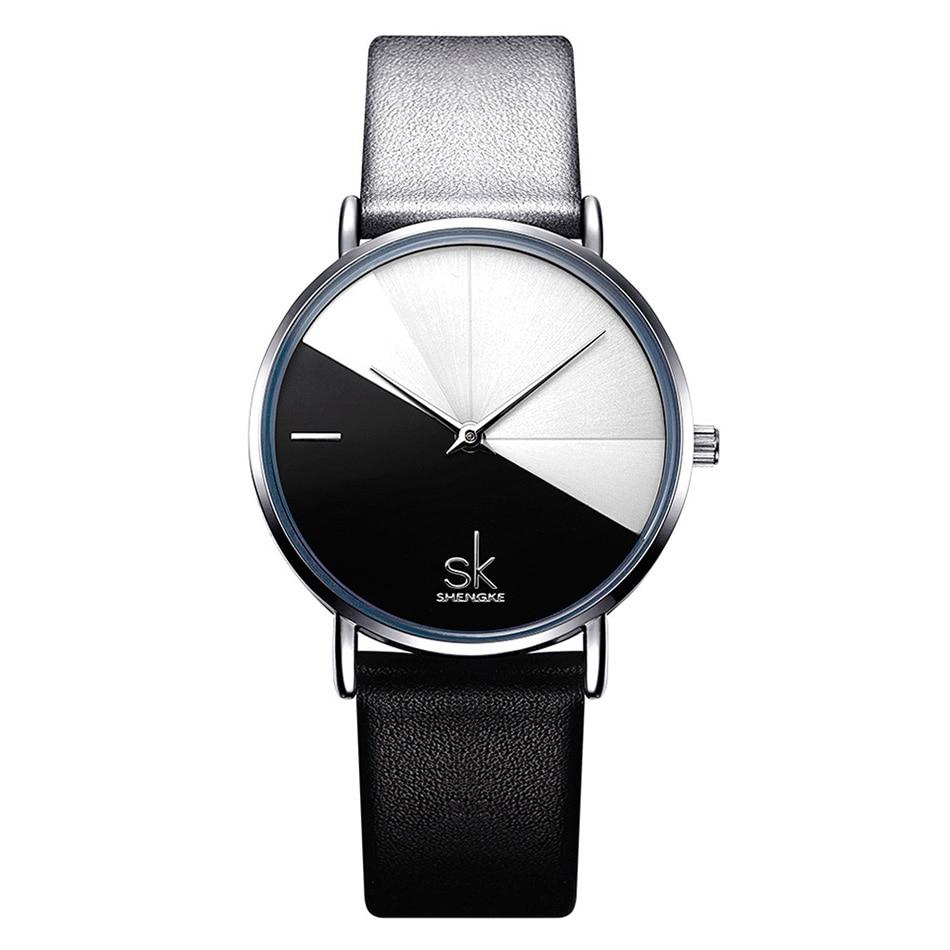 SK Luxury Leather Watches Women Creative Fashion Quartz Watches For Reloj Mujer 2018 Ladies Wrist Watch SHENGKE relogio feminino (2)