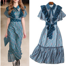 Высокое качество Брендовое подиумное Лето Весна OL длинное платье с оборками рукавом женские элегантные вечерние платья с поясом NS210