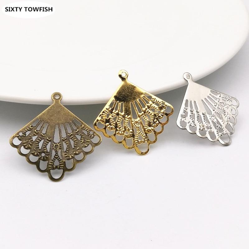 30 Pcs/lot 25x26mm 3Colors Metal Filigree Flowers Slice Fan-shaped Charms Setting Jewelry DIY Makings B100772