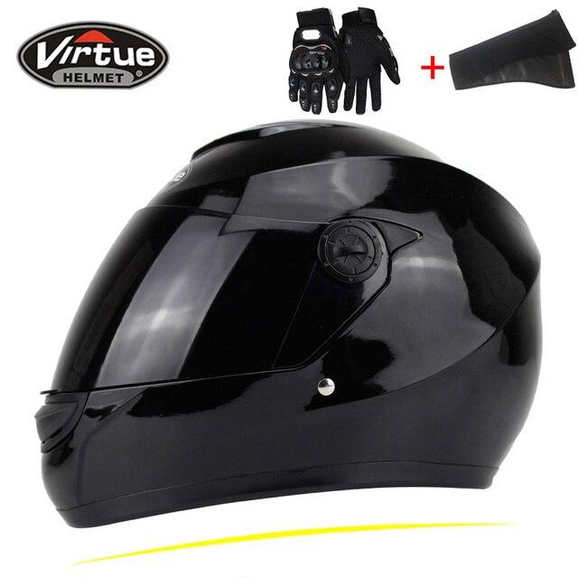 41b6eb9bdf7 Nuevo genuino virtud cara llena cascos Invierno Caliente doble visera de la motocicleta  Casco moto capacete