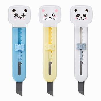 1Pcs Cute Mini Cartoon Cat Portable Utility Knife Plastic Protective Shell Kawaii Safe Paper Cutter Escolar Papelaria Stationery