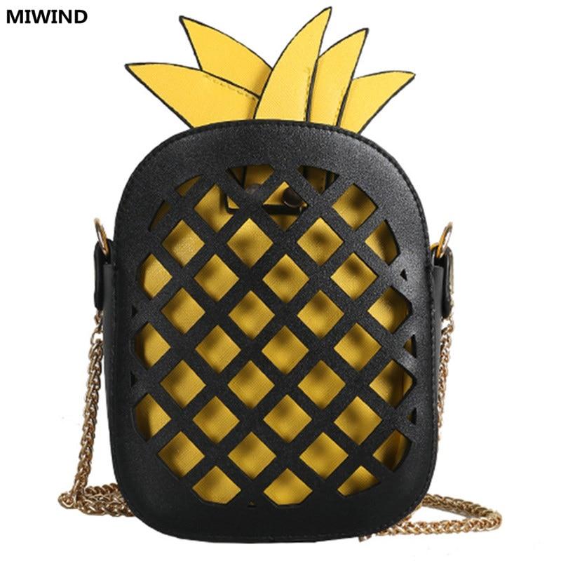 661765a0e24 funny bags pineapple shape shoulder bags for girls designer Hollow ...