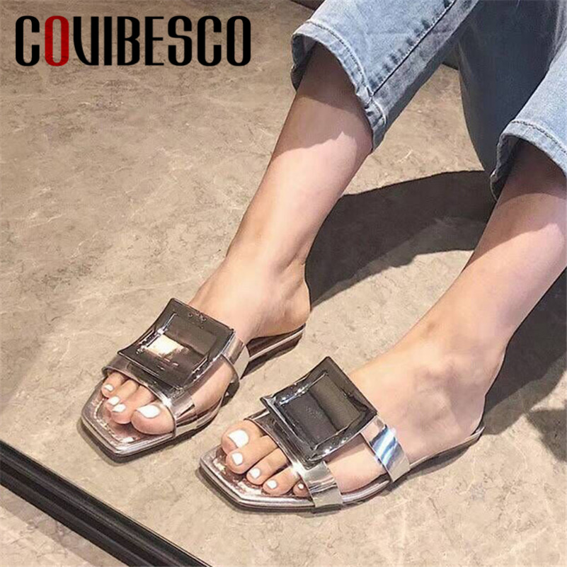 COVIBESCO Concise Casual Women Sandals Slippers Square Toe Women Flats Basic Shoes Woman 2019 New Summer Shallow Party ShoesCOVIBESCO Concise Casual Women Sandals Slippers Square Toe Women Flats Basic Shoes Woman 2019 New Summer Shallow Party Shoes