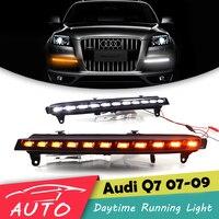 DRL Для Audi Q7 2007 2008 2009 светодиодный дневного света противотуманных фар с поворотник