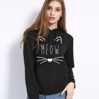Sudadera Mujer 2017 Autumn Sweatshirt Women Hoodies Sweatshirts Female Cute Cat Harajuku Kawaii Print Long Sleeve