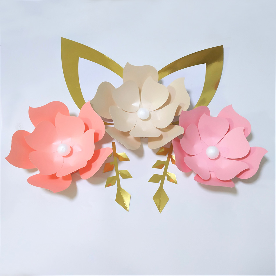 Diy Baby Nursery Floral Wall Decor: Cardstock Rose DIY Easy Paper Flowers With Ears Leaves Set