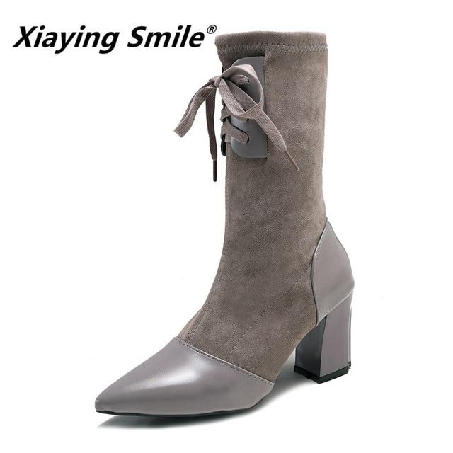 Xiaying Gülümseme Kış Kadın Orta Buzağı Botları Yeni Stil Sivri Burun Katı Ayakkabı Bayanlar Moda Rahat dantel-up akın Kadın Ayakkabı
