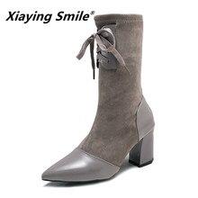 Xiaying Smile Зимние женские ботинки до середины икры Новый стиль острый носок устойчивые туфли Laies Fahsion Повседневное на шнуровке женская обувь из флока