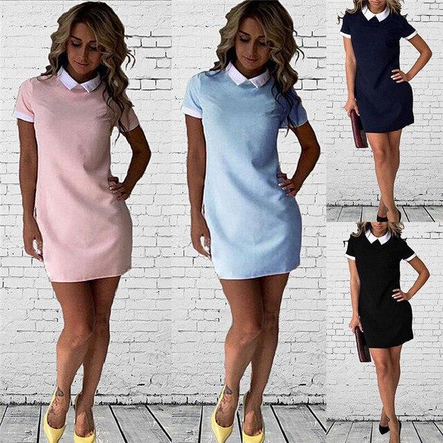 d54c069ca0 Summer Mini Dresses Ladies Office Vestidos Cute PeterPan Collar School  Preppy Style fashion Summer White Collar