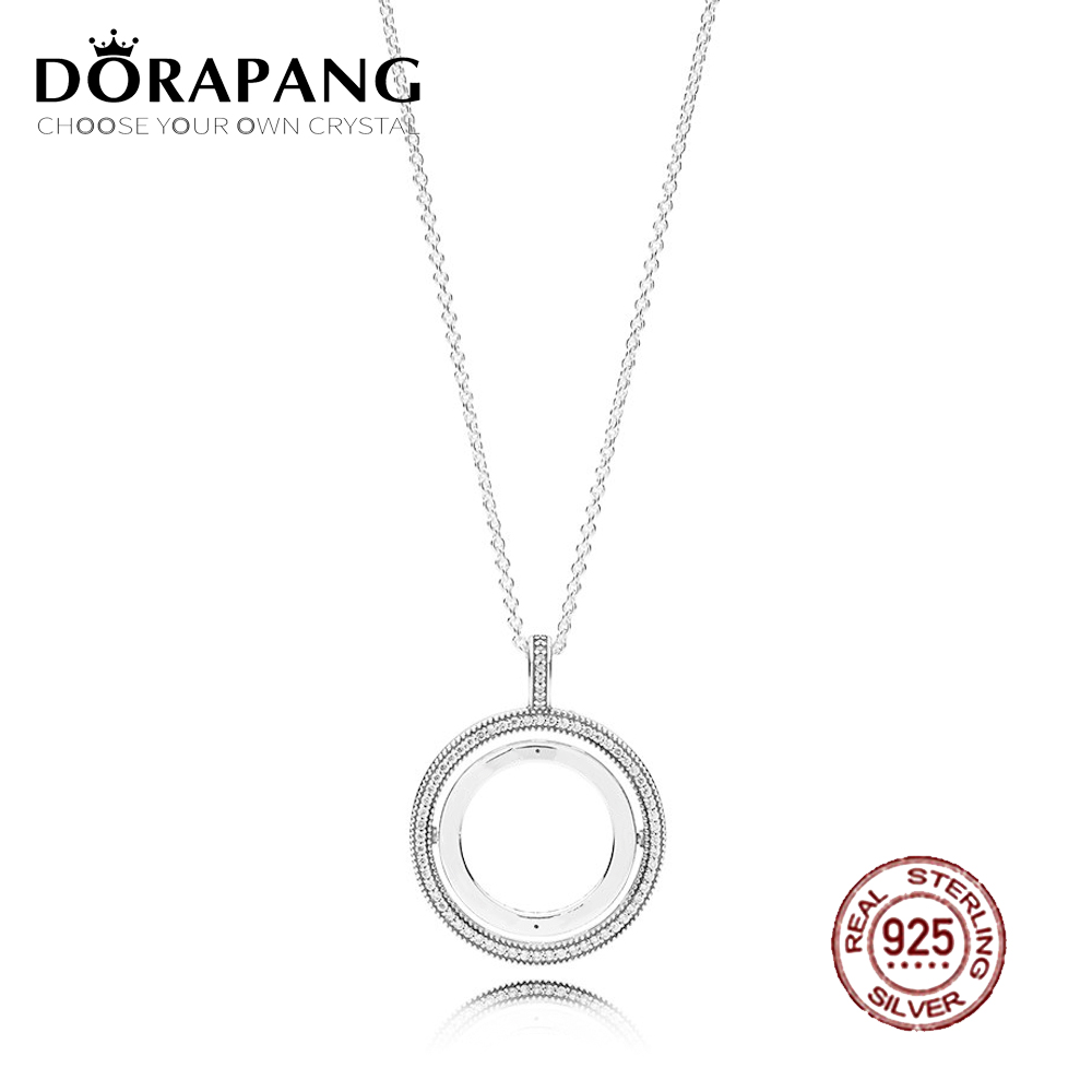 DORAPANG 2018 NEW 100% 925 Sterling Silver Loving Spinning Hearts of Necklace Clear CZ Suitable Gift Clavicle Chain Jewelry dorapang 100
