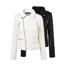 2017 New Autumn Fashion Street Women's Short Washed PU Leather Jacket Zipper Black White New Ladies Basic Jackets Coat