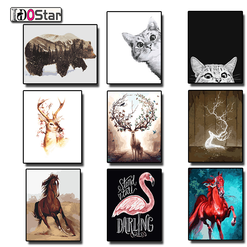 Frame DIY Painting By Numbers Animals horse deer cat bear kits Acrylic Painting Modern Picture Home Decor For Living Room