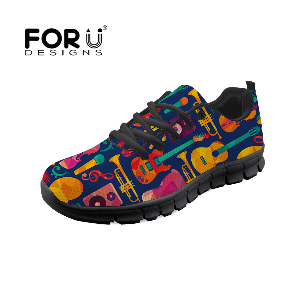FORUDESIGNS Casual Shoes 2018 New Flat Shoe Guitar Notes Pattern Comfortable Lace-up Black Cartoon Nurse Shoes Trainers SneakersFORUDESIGNS Casual Shoes 2018 New Flat Shoe Guitar Notes Pattern Comfortable Lace-up Black Cartoon Nurse Shoes Trainers Sneakers