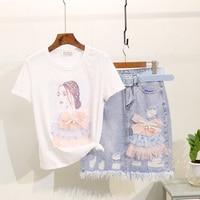 Denim Skirt Suits Women Summer Dress New Bow Knot Beauty Girl Print Short sleeve Tshirt + Hole Package Hip Skirt Two Piece Suit