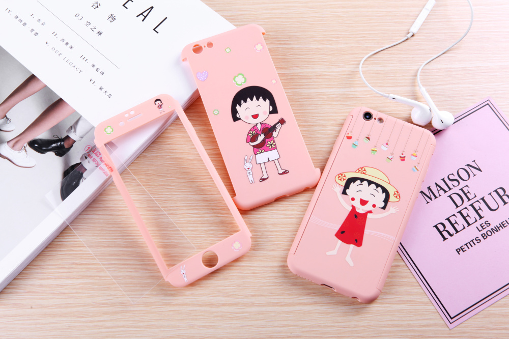 Lovers Case for iphone 6 6s 7 plus 360 All inclusive Rabbit Comic Princess Violin Cartoon Pink girl phone Shell