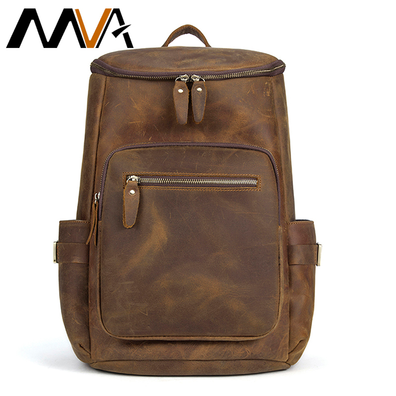 MVA Vintage Men Backpack 15inch Leather Laptop Backpack Genuine Leather Men Bag Fashion Backpacks for Teen Travel School Bag voyjoy t 530 travel bag backpack men high capacity 15 inch laptop notebook mochila waterproof for school teenagers students