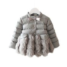 2016 girls winter jackets and coats faux fur solid tops leather bow patchwork kids jacket children clothing baby girls outerwear