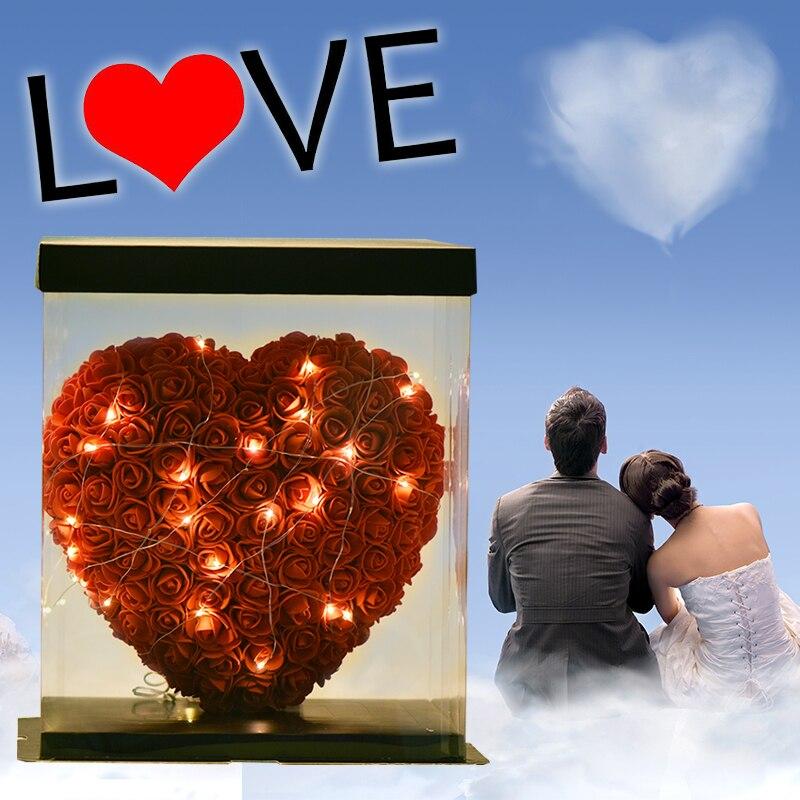 WR Шарм красные Розочки в форме сердца с светодиодный свет украшения на подарочную коробку Подарок на годовщину подарок для подруги День свя