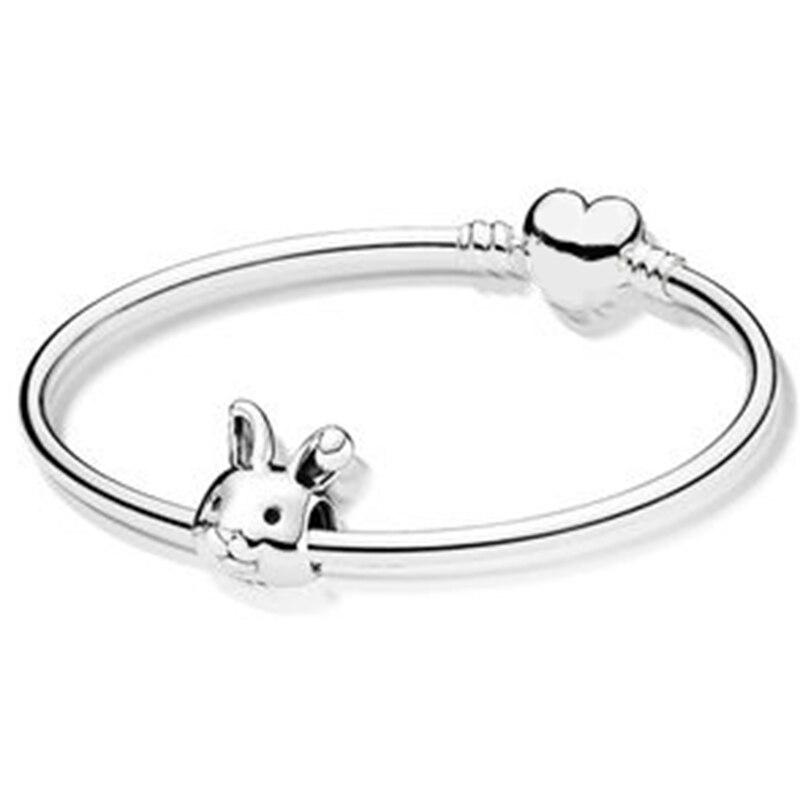 NEW 100% 925 Sterling Silver New 1:1 Charm Cute Rabbit Zodiac Rabbit Bracelet Set Fit DIY Birthday Present